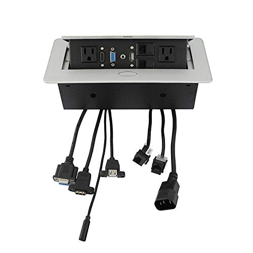 ZESHAN Pop Up Multimedia Outlet Socket Connection Box with US Power, VGA, HDMI and so on for Desktop or Conference,Silver