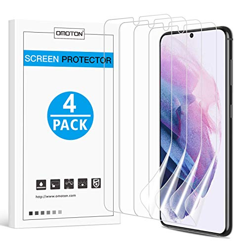 [4 Pack] OMOTON Screen Protector for Samsung Galaxy S21 5G (6.2 inch), Case Friendly Fingerprint ID Compatible Scratch Resistant Flexible Clear TPU Film