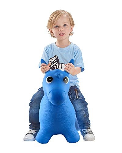Bouncy Horse for Toddlers, Baby Bouncer Rocking, Bouncing Hopper Animals, Kids/Infant Riding Toys Girl Boy, Christmas Farm Hopping/Hoppity Hop Sit and Spin (Blue)