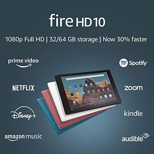 Fire HD 10 Tablet (10.1' 1080p full HD display, 32 GB) – Black (2019 Release)