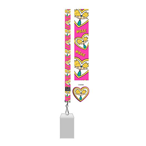 Silver Buffalo Hey Arnold #Bae Lanyard with Badge Holder & Rubber Charm, Multicolor