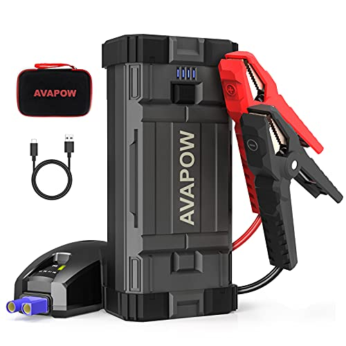 A V A P O W Jump Starter 2000A Peak 18000mAh Portable Battery Jump Starter for Car with Dual USB Quick Charge 3.0(Up to 8.0L Gas or 6.5L Diesel),12V Jump Box,Compact Lithium Car Power Pack
