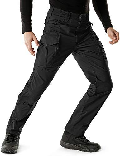 CQR Men's Flex Stretch Tactical Pants, Water Repellent Ripstop Cargo Pants, Lightweight EDC Outdoor Hiking Work Pants, Flexy Cargo Zip Black, 34W x 32L