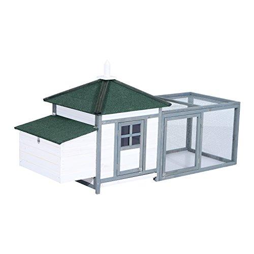 PawHut 77' Wooden Weatherproof Backyard Chicken Coop Kit with 2-Part Nesting Box and Run - White/Grey