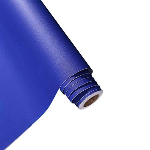 MULLSAN Self-Adhesive Solid Color Matte Textured Vinyl Peel and Stick Wallpaper Paper Wallpaper Shelf Liner Home Decorative Paper,24inch by 118inch (Royal Blue)