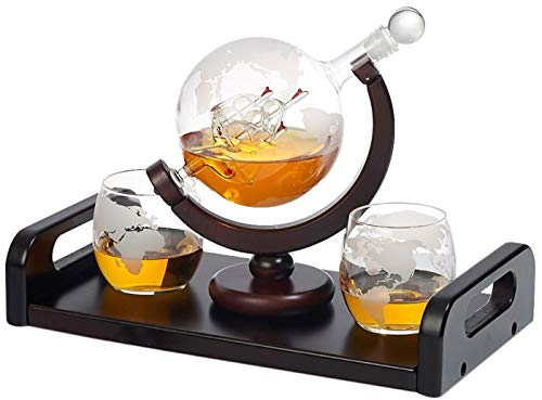 Bezrat Etched Globe Whiskey Decanter + 2 Whiskey Glasses 10 Oz. on Rich Wood Mahogany Base Tray with 2 Side Handle - Gift Packaging - Antique Ship Whiskey Dispenser for Liquor Scotch Bourbon Vodka 850