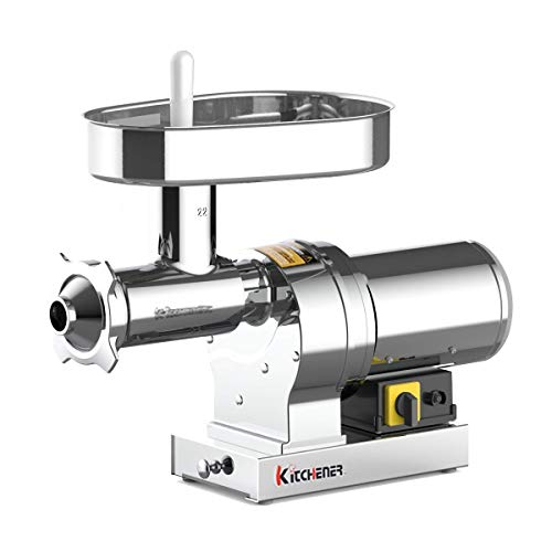 Kitchener Elite Electric Meat Grinder & Sausage Stuffer #22 1 HP 840 LBS Per/Hr 750 Watts Super Heavy Duty Stainless Steel Body Commercial Grade Stainless Steel Cutlery Feeding Tray & Neck