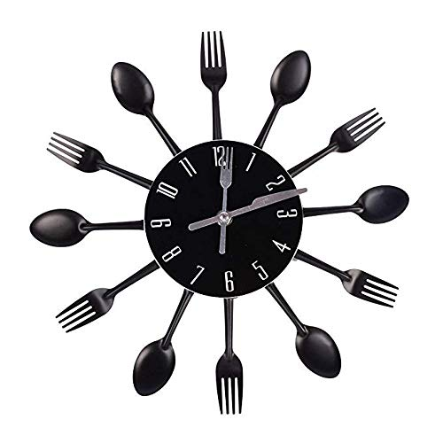Hua Express Kitchen Wall Clock 3D Modern Creative Kitchen Cutlery Spoon Fork Timelike Wall Clock Wall Sticker Room Home Decoration (Black)