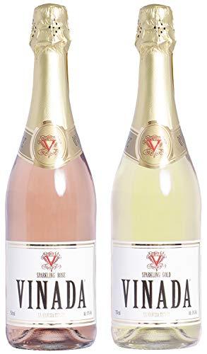 VINADA - Sparkling Gold & Rosé Variety Pack - Zero Alcohol Wine - 750 ml (2 Glass Bottles)