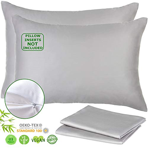 Lyocell Bamboo Pillow Cases - Set of 2 Zippered Pillowcase, Grey, Queen 20x30 Inches - Luxurious 156gsm from Organic Bamboo Cooling Pillowcase - Beauty Pillow - Like Silk Pillowcase for Hair and Skin