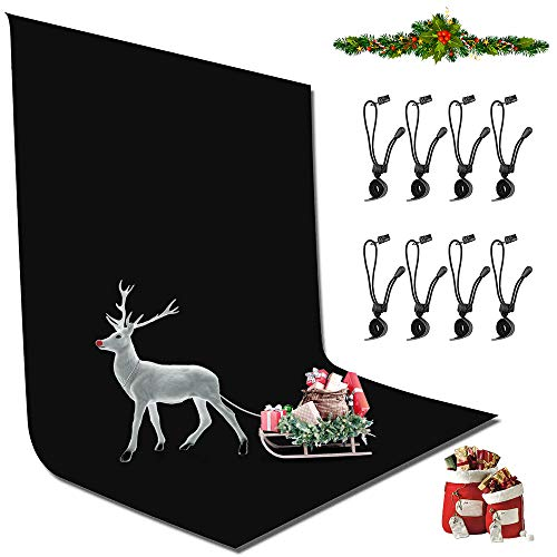 YICOE 6.5 x 10 ft Black Photo Backdrop Background Wrinkle-Resistant Backdrop with 8 Backdrop Clip, Polyester Fabric Collapsible Chromakey Black Screen Backdrops for Photography, Photo Video Studio