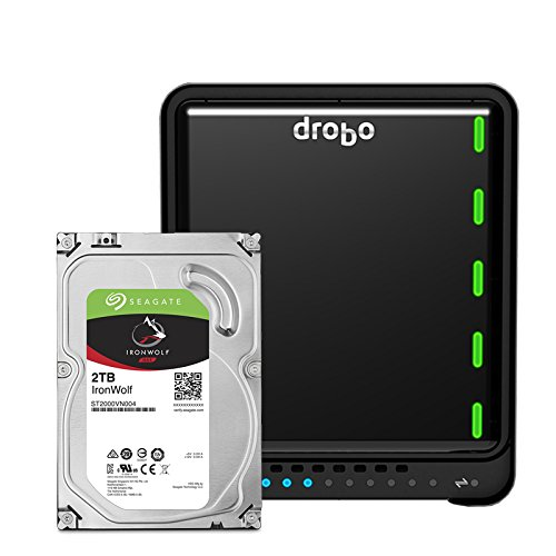 Drobo 5D3 10TB: 5-Drive Direct Attached Storage (DAS) Array with Seagate NAS Drives – Dual Thunderbolt 3 and USB 3.0 type C ports (DRDR6A21-10TB)