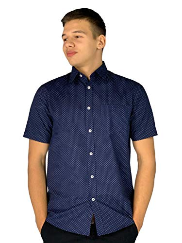 Pierre Cardin Mens Short Sleeve All Over Print Shirt with Signature Embroidery (Large, Navy AOP)