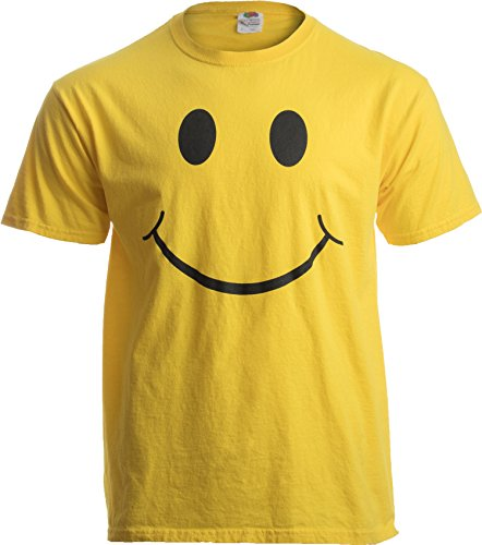SMILEY FACE (SMILE) TEE! Adult Unisex T-shirt / Positive, Optimist, Sunny, Happy Shirt, Yellow, XL