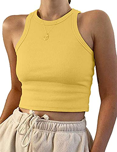 MISSACTIVER Women Basic Sleeveless Vest Crop Tank Top Casual Crew Neck Binding Crop Top (Medium, Yellow)