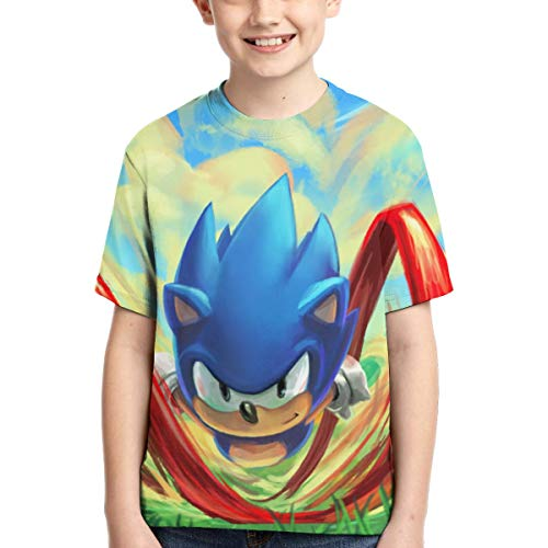 SEGA Kid's Sonic The Hedgehog Shirt Sonic Mania Short Sleeve Anime T Shirt S for Boys,Girls