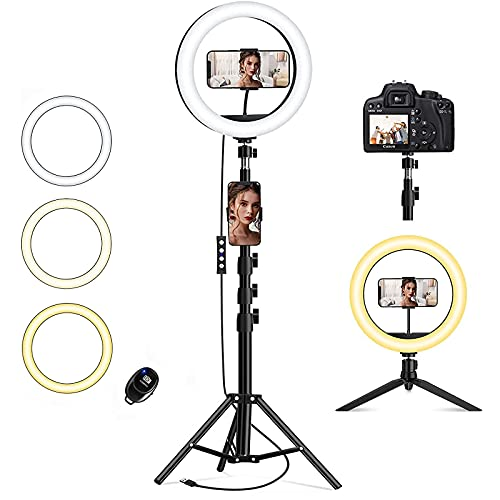 10.2 inch Selfie Ring Light with Tripod Stand & 2 Phone Holders, QI-EU Dimmable LED Camera Ringlight for Live Stream/Makeup/YouTube/Photography/Tiktok, Compatible with iPhone and Android Phone
