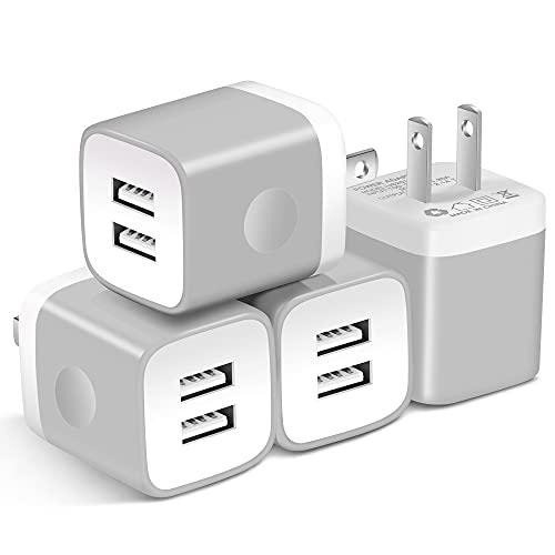 USB Wall Charger, X-EDITION 4-Pack 10.5W/2.1A Universal 2-Port USB Wall Plug Power Adapter for Phone X, 8/8 Plus 7/7 Plus, 6/6 Plus 6S, Pad, Samsung Galaxy S5 S6 S7 Edge, Nexus, LG (Gray)