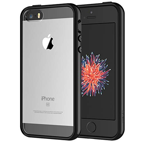JETech Case for iPhone SE 2016 (Not for 2020), iPhone 5s and iPhone 5, Shockproof Bumper Cover, Anti-Scratch Clear Back, Black