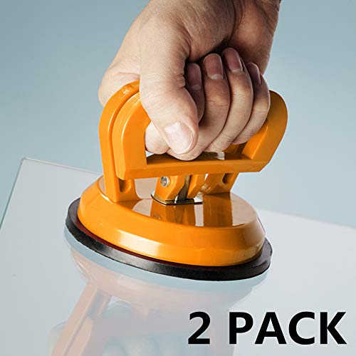 IMT 4.9' Glass Suction Cup Tiles Window Lifter 2 Pack, Power Grip Vacuum Lifter for Glass/Tiles/Mirror/Granite Lifting, Sucker Plate Double Handle Locking
