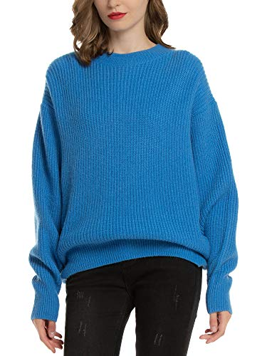 MessBebe Women's Oversized Cable Knit Sweater Long Sleeve Ribbed Pullover Tops Cozy Warm Chunky Casual Ourwear Blue