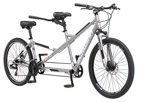 Schwinn Twinn Classic Tandem Adult Beach Cruiser Bike, Double Seater, Steel Low Step Frame, 7-Speed, 650c Urban Tires, Alloy Caliper Brakes, Medium Frame, Grey