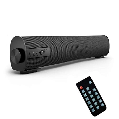 Portable Soundbar for TV/PC, Outdoor/Indoor Wired & Wireless Bluetooth 5.0 Stereo Speaker with The Newest Remote Control, 2X5W Mini Home Theater Sound bar with Built-in Subwoofers for Phones (Updated)