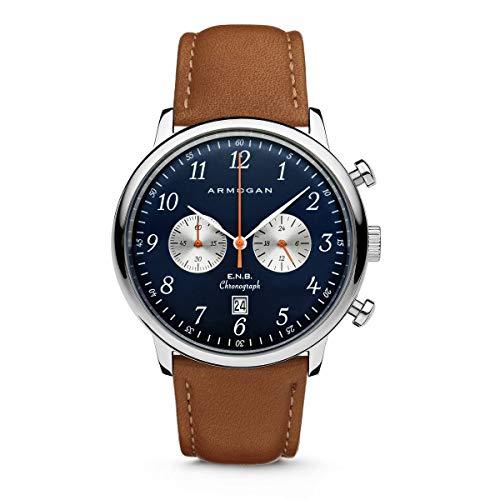 Armogan E.N.B - Blue Saphire S42 - Men's Chronograph Watch Light Brown Leather Strap