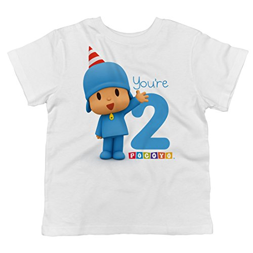 Trunk Candy Pocoyo - Happy Birthday You're 2 Toddler T-Shirt (White, 2T)