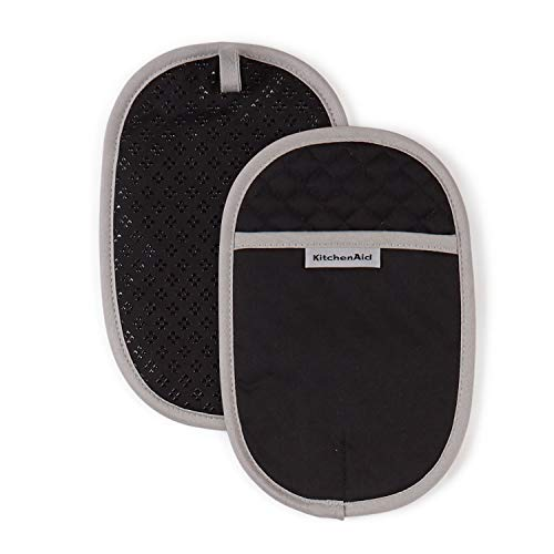 KitchenAid Asteroid Cotton Pot Holders with Silicone Grip, Set of 2, Black 2 Count