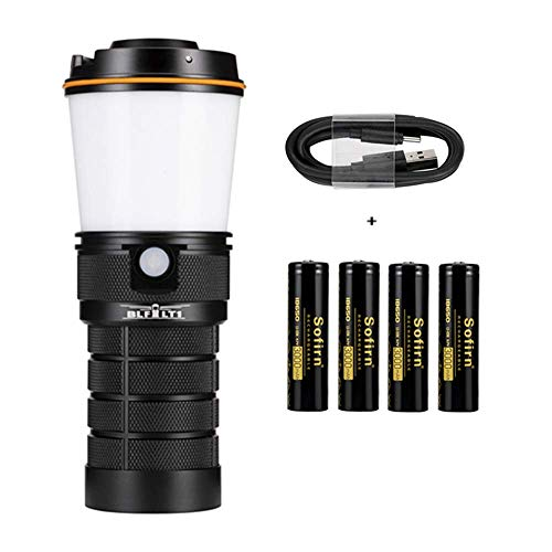 Sofirn BLF LT1 Lantern, LED Rechargeable Camping Lantern, portable with 8x Samsung LH351D LEDs powered by 4x Inserted 18650 batteries for camping, hiking, fishing, cellar/basement (Batteries Included)