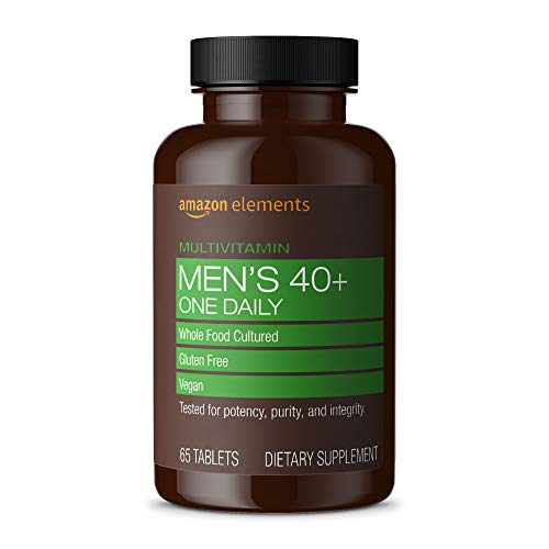 Amazon Elements Men's 40+ One Daily Multivitamin, 67% Whole Food Cultured, Vegan, 65 Tablets, 2 month supply (Packaging may vary)