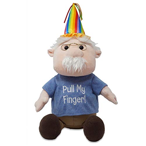 Cuddle Barn | Tootin' Pops 10' Gramps Animated Stuffed Animal Plush Toy | Farting Gramps Wearing Birthday Hat and Pull My Finger T-Shirt sways and Sings a Farty Happy Birthday