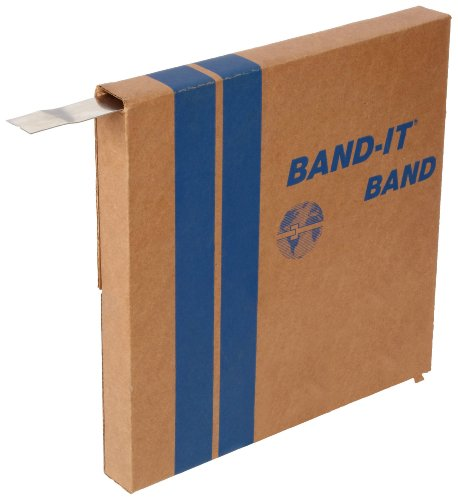 BAND-IT C20299 201 Stainless Steel Bright Annealed Finish Band, 1/4' Width X 0.020' Thick, 100 Feet Roll