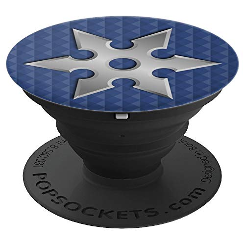 Blue Steel Ninja Star Fidget Spinner Warrior Kickstand PopSockets Grip and Stand for Phones and Tablets