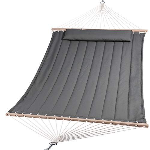 SUNCREAT Double Hammock for 2 Person, Extra Large Outdoor Portable Hammock with Hardwood Spreader Bar, Soft Pillow, 450 lbs Capacity, Grey