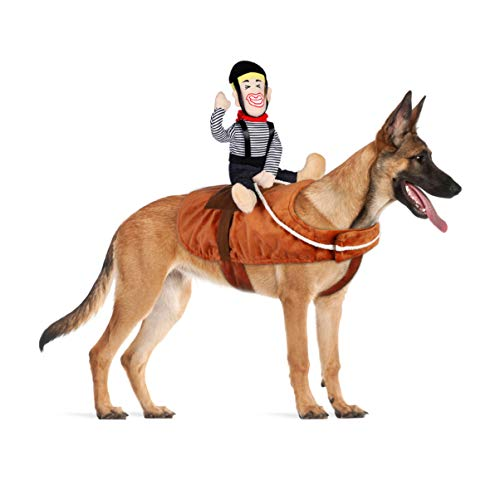POPETPOP Dog Costume Horse - Cowboy Rider Horse Riding Dog Costume Funny Dog Carrying Costume for Small Large Puppy - Pet Apparel Dress Up Outfits for Halloween Christmas