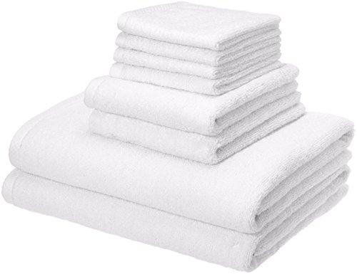 AmazonBasics Quick-Dry, Luxurious, Soft, 100% Cotton Towels, White - 8-Piece Set