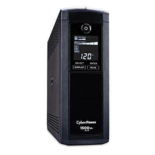 CyberPower CP1500AVRLCD Intelligent LCD UPS System, 1500VA/900W, 12 Outlets, AVR, Mini-Tower Black