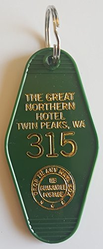 The Great Northern Hotel Room 315 Twin Peaks Inspired Key Tag Green and Gold