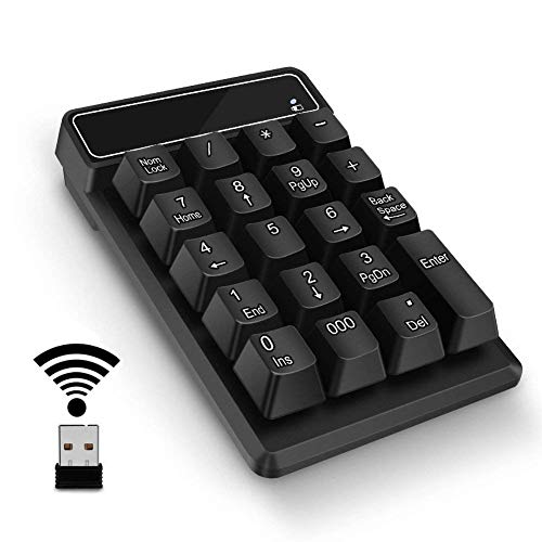 Number Pad,Portable Mini USB 2.4GHz 19-Key Financial Accounting Numeric Keypad Keyboard Extensions for Data Entry in Excel for Laptop, PC, Desktop, Surface pro, Notebook, etc (Wireless Number Pad)