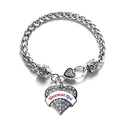 Inspired Silver - Colored Script American Girl Braided Bracelet for Women - Silver Pave Heart Charm Bracelet with Cubic Zirconia Jewelry