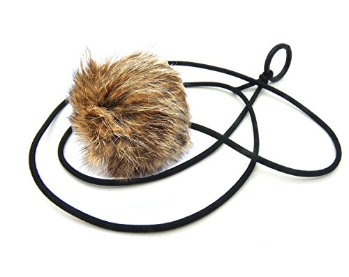 Bouncy Ball Rabbit Fur String Cat Toy Jumbo Size (Natural)