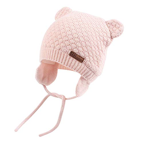 XIAOHAWANG Warm Baby Hat Cute Bear Toddler Earflap Beanie for Fall Winter (0-7Months, Pink)