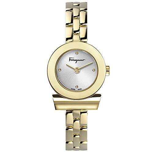 Salvatore Ferragamo Women's GANCINO Quartz Watch with Gold-Plated-Stainless-Steel Strap, 12 (Model: SFPD00719)