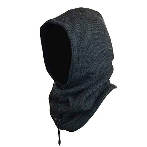 Winterproof 4 in 1 Full Face Hood Adults, Fleece Balaclava, Ski Mask Hoodie (Charcoal Ribbed Knit)