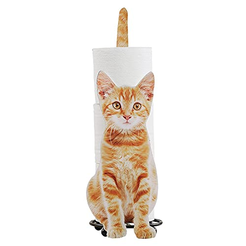 Collections Etc Cat Bathroom Toilet Paper Holder Gift for Cat Lovers, Orange