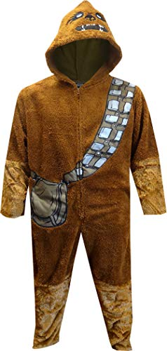 Star Wars Men's Dress Like Chewbacca Hooded Union Suit Pajama (Large/X-Large) Brown