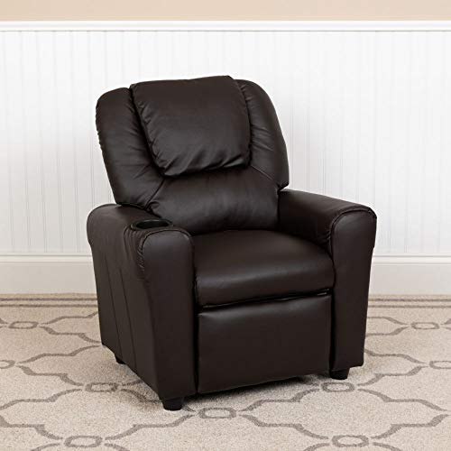 Flash Furniture Contemporary Brown LeatherSoft Kids Recliner with Cup Holder and Headrest