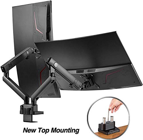 AVLT Dual 13'-32' Monitor Arm Desk Mount fits Two Flat/Curved Monitor Full Motion Height Swivel Tilt Rotation Adjustable Monitor Arm - VESA/C-Clamp/Grommet/Cable Management